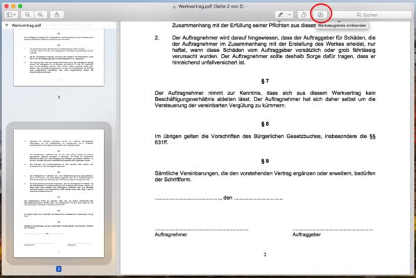 pdf unterschreiben mac