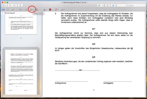 pdf unterschreiben apple mac