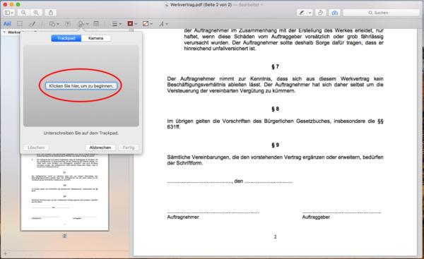 pdf unterschreiben imac
