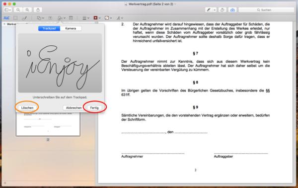 macbook pdf unterschreiben