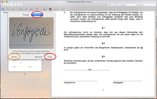 mac pdf signieren