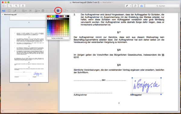 apple mac pdf signieren
