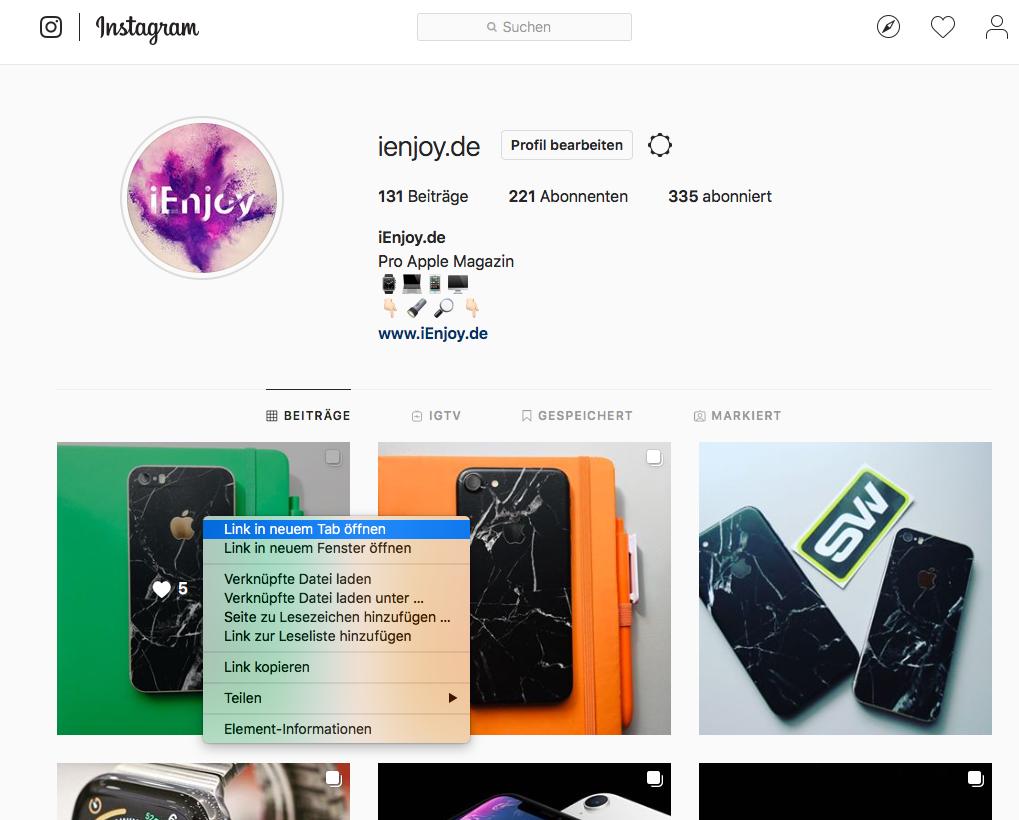 instagram fotos speichern
